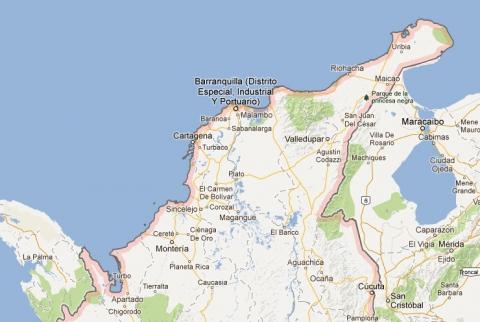 Mapa de la Costa Atlántica colombiana.