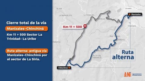 Se mantiene el cierre total de la vía Manizales – Chinchiná debido a las fuertes lluvias
