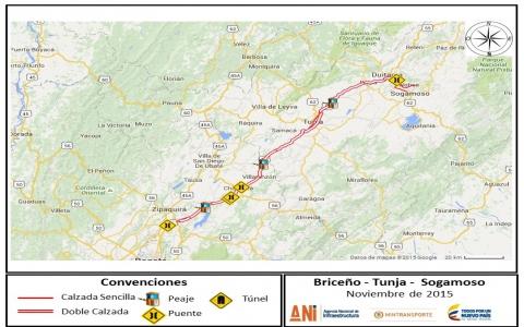 Briceño Tunja Sogamoso Portal ANI - Tunja map