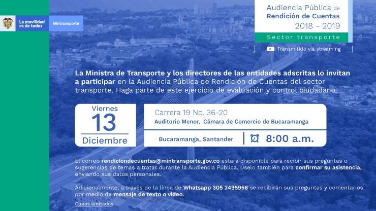 Invitación a participar en la Audiencia Pública de Rendición de Cuentas del sector transporte